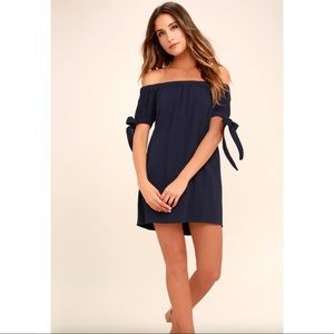 Lulus Navy Off-the-Shoulder Dress (S)